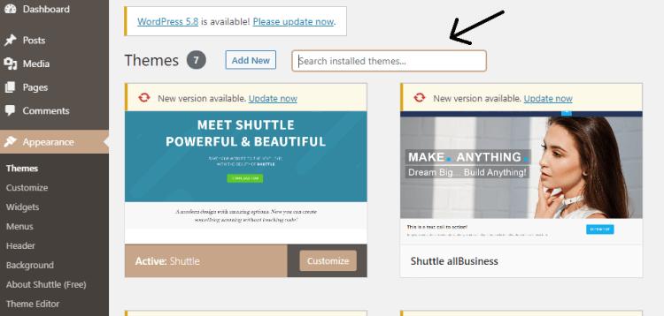 Screenshot showing how to change your Theme on WordPress