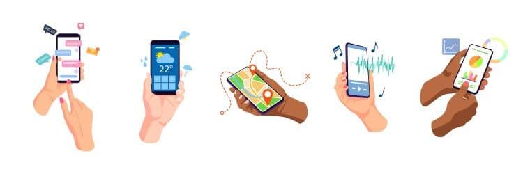 Vector image - hands holding phones, showing money making apps