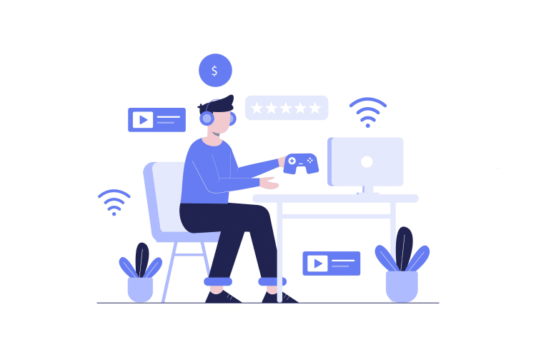 Vector image of a guy playing games to make money online