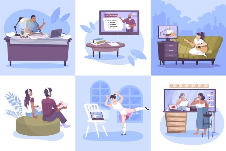 Collage vector image of online hobbies you can make money online with