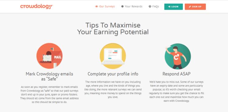 Screenshot from Crowdology - online surveys for money