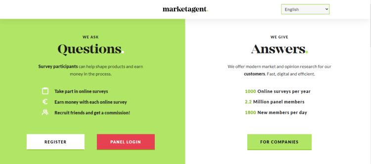 Screenshot from Marketagent - online surveys for money