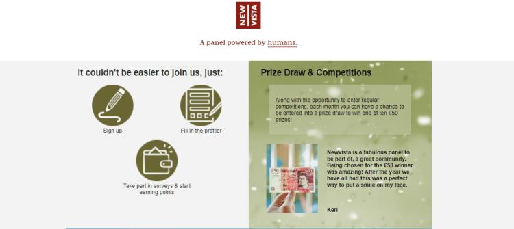 Screenshot from Newvista - online surveys for money