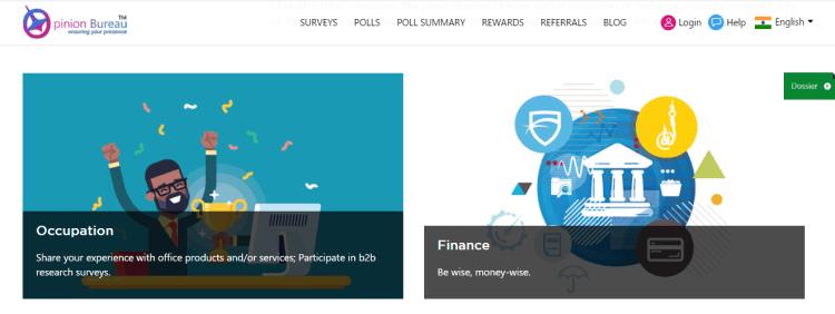Screenshot from Opinion Bureau - online surveys for money