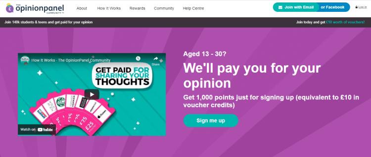 Screenshot from OpinionPanel - online surveys for money