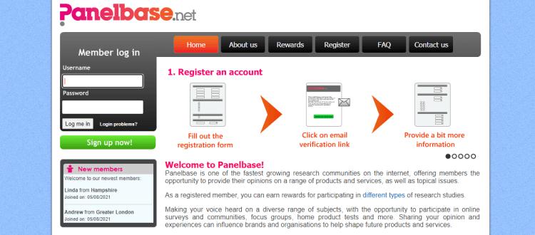 Screenshot from Panelbase - online surveys for money