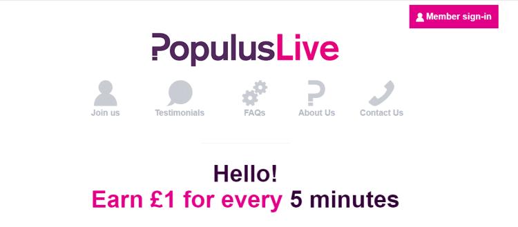 Screenshot from PopulusLive - online surveys for money