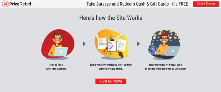 Screenshot from PrizeRebel - online surveys for money