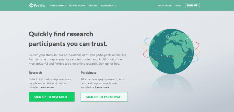 Screenshot from Prolific - online surveys for money