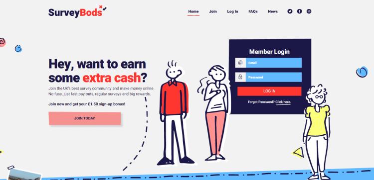 Screenshot from Surveybods - online surveys for money