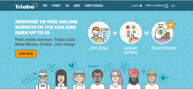 Screenshot from Triaba - online surveys for money