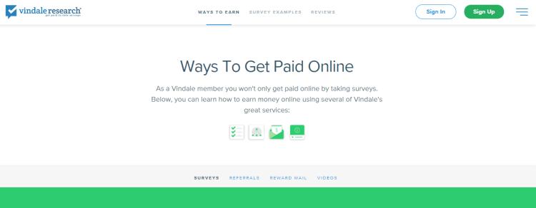 Screenshot from Vindale - online surveys for money