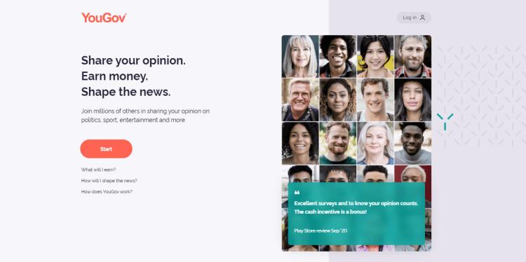 Screenshot from YouGov - online surveys for money