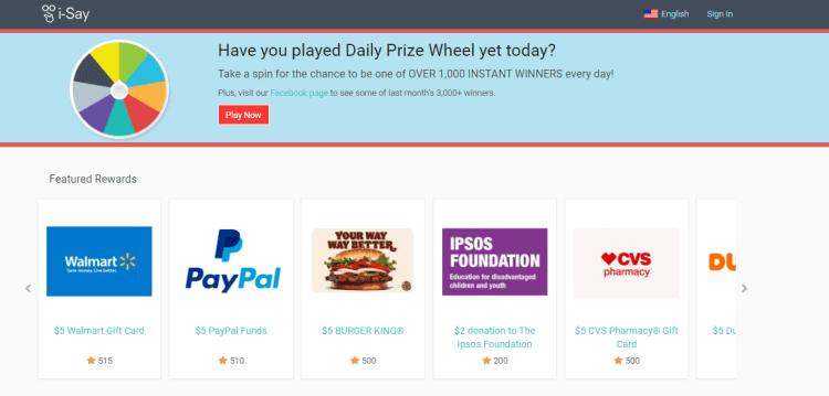 Screenshot from i-Say - online surveys for money