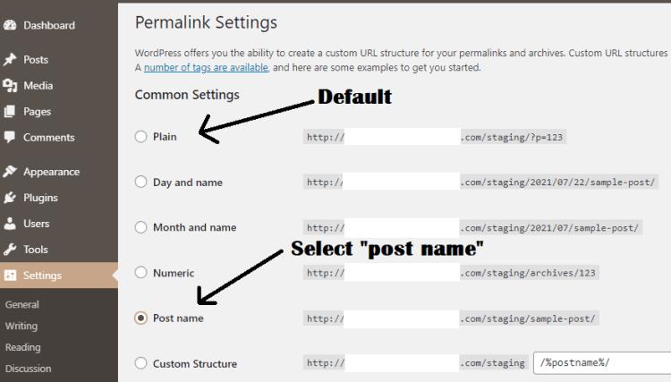 Screenshot showing WordPress Permalink Settings