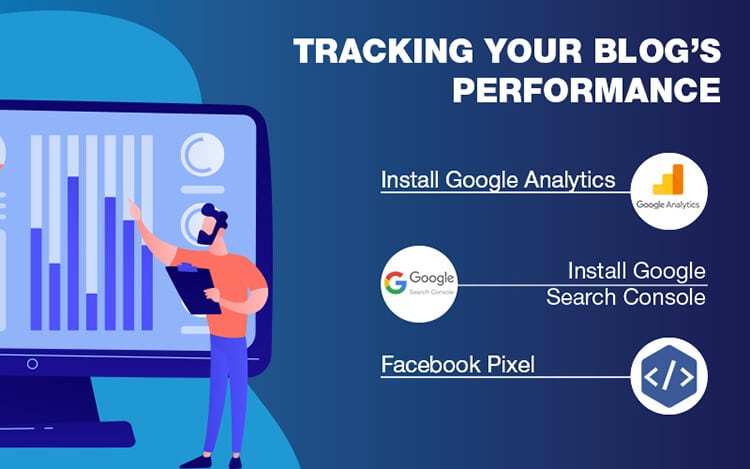 Graphic image showing apps to help you track your blog's performance