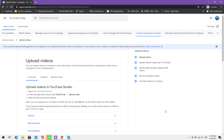 Screenshot explaining how to upload videos in YouTube Studio
