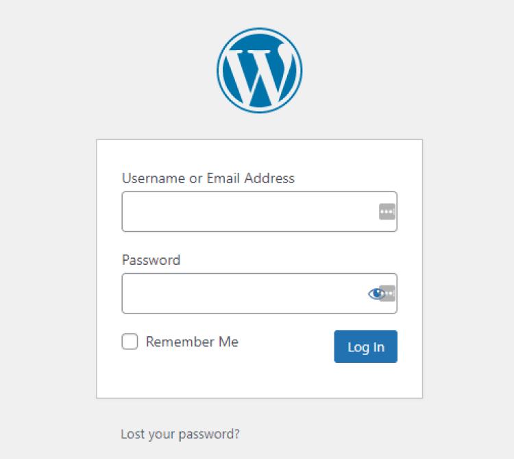 Screenshot from WordPress Log In Page