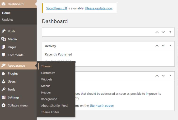 Screenshot from WordPress Navigation Bar