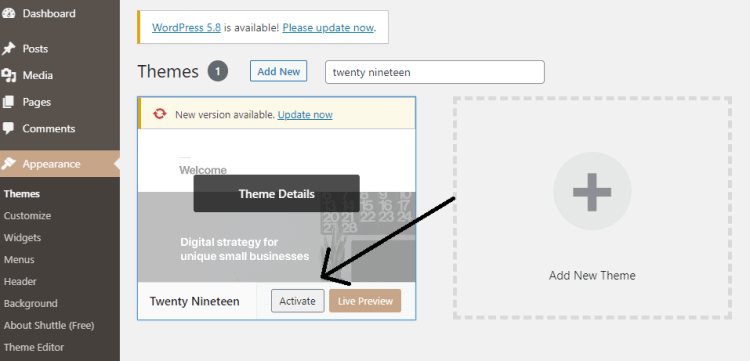 Screenshot showing how to activate WordPress Theme