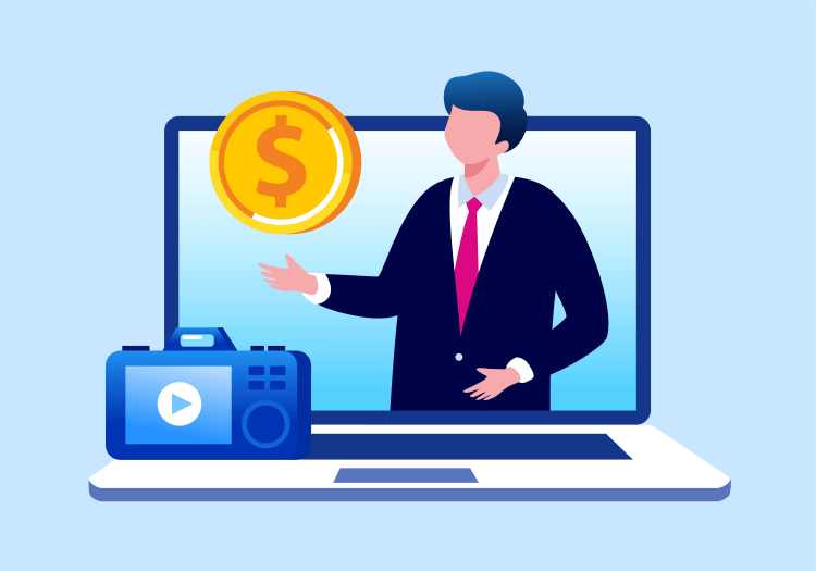Man on laptop screen explaining how to make money on YouTube