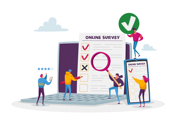 Vector image with 5 people doing online surveys for money