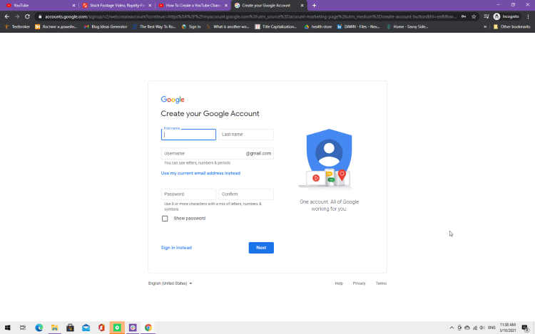 Screenshot showing how to set up a Google account
